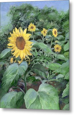 Sunflowers Garden Floral Art Colorful Original Painting Metal Print by K Joann Russell