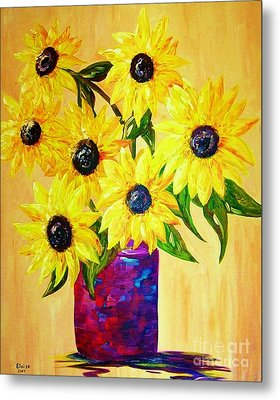 Sunflowers In A Red Pot Metal Print by Eloise Schneider