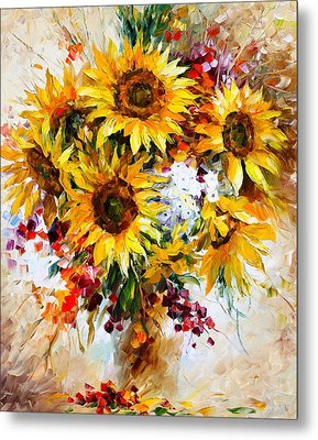 Sunflowers Of Happiness New Metal Print by Leonid Afremov