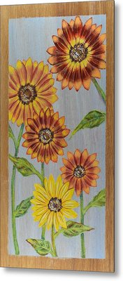 Sunflowers On Wood Panel I Metal Print by Elizabeth Golden