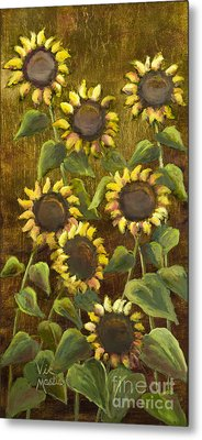 Sunflowers With Gold Leaf By Vic Mastis Metal Print by Vic  Mastis