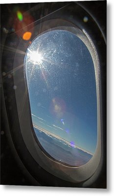 Sunlight Flare In Aircraft Window Metal Print by Jim West