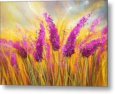 Sunny Lavender Field - Impressionist Metal Print by Lourry Legarde