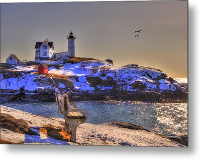 Sunrise At Nubble Lighthouse - Cape Neddick - York Maine Metal Print by Joann Vitali