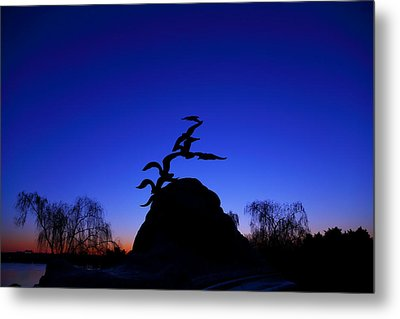 Sunrise At The Navy  Merchant Marine Memorial Metal Print by Metro DC Photography