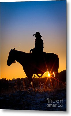 Sunrise Cowboy Metal Print by Inge Johnsson