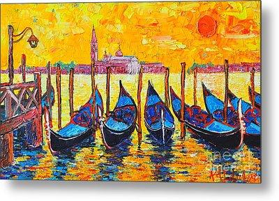 Sunrise In Venice Italy Gondolas And San Giorgio Maggiore Metal Print by Ana Maria Edulescu