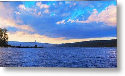 Sunrise On Cayuga Lake Ithaca New York Panoramic Photography Metal Print by Paul Ge