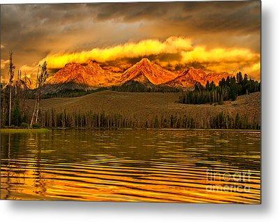 Sunrise On Little Redfish Lake Metal Print by Robert Bales