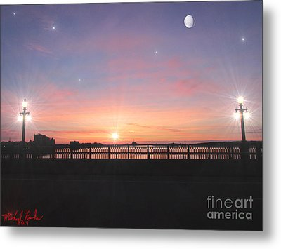 Sunrise On The Bridge Metal Print by Michael Rucker