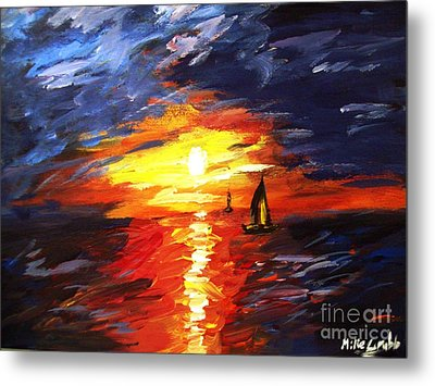 Sunset And Sails Metal Print by Michael Grubb