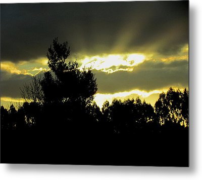Sunset And Storm Clouds Metal Print by Joyce Woodhouse