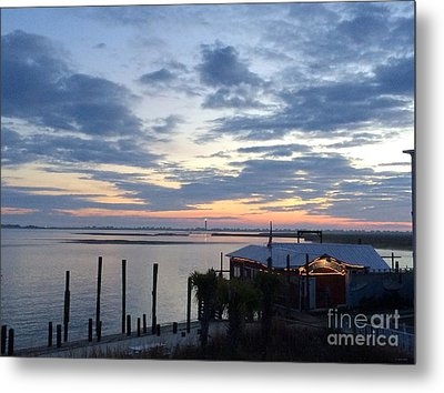 Sunset At American Fish Co       Safe Havens Ivans In Southport Nc Metal Print by Shelia Kempf