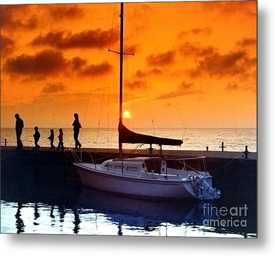 Sunset At Egg Harbor Dock Wisconsin Metal Print by ImagesAsArt Photos And Graphics