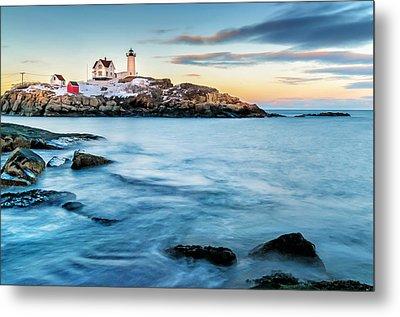 Sunset At Nubble Light-cape Neddick Maine Metal Print by Thomas Schoeller