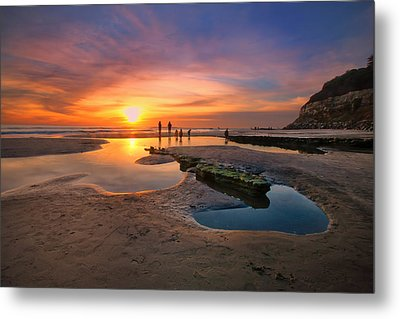 Sunset At Swamis Beach 5 Metal Print by Larry Marshall