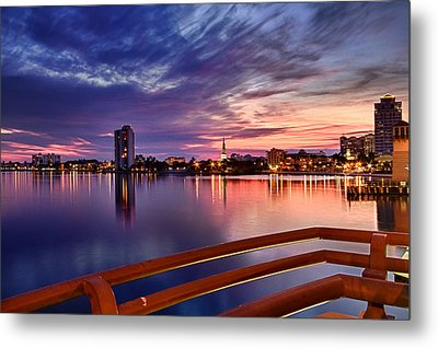 Sunset Balcony Of The West Palm Beach Skyline Metal Print by Debra and Dave Vanderlaan