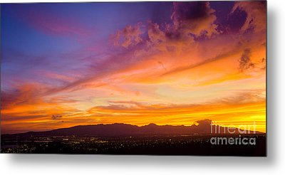 Sunset Behind The Wainae Mountain Range Metal Print by Aloha Art