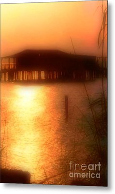 Sunset Camp On Lake Pontchartrain In New Orleans Louisiana Metal Print by Michael Hoard