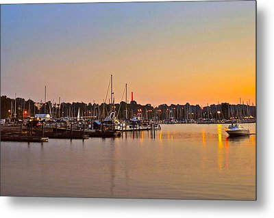 Sunset Fishing Metal Print by Frozen in Time Fine Art Photography