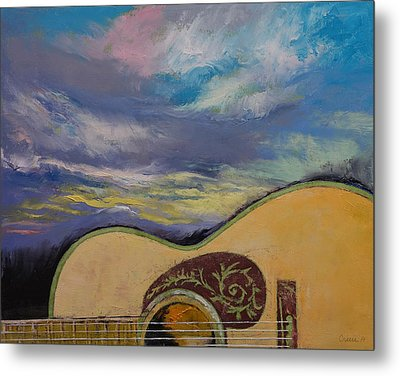 Sunset Guitar Metal Print by Michael Creese