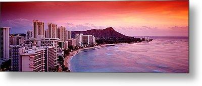 Sunset Honolulu Oahu Hi Usa Metal Print by Panoramic Images