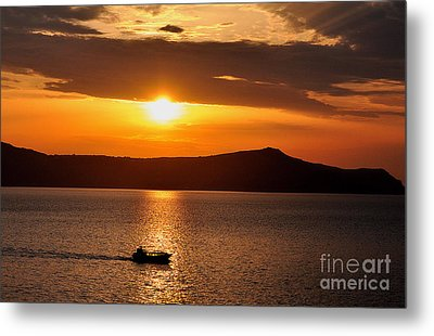 Sunset Off The Island Of Santorini Metal Print by MaryJane Armstrong
