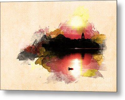 Sunset On Lake Metal Print by Martin Dzurjanik