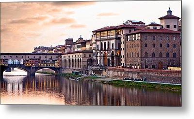 Sunset On Ponte Vecchio In Florence Metal Print by Susan Schmitz