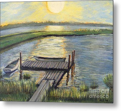 Sunset On The Bay Metal Print by Rita Brown