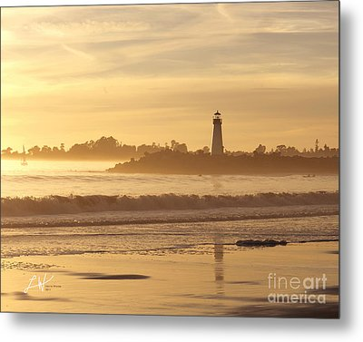 Sunset On The Lighthouse In Santa Cruz Harbor Metal Print by Artist and Photographer Laura Wrede