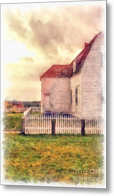 Sunset On The Old Farm House Metal Print by Edward Fielding