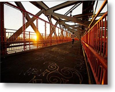 Sunset On The Williamsburg Bridge - New York City Metal Print by Vivienne Gucwa