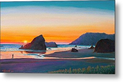 Sunset - Oregon Coast Metal Print by Paul Krapf