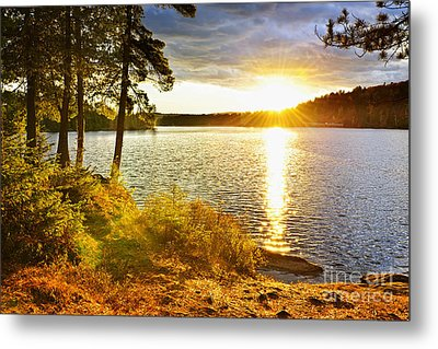 Sunset Over Lake Metal Print by Elena Elisseeva