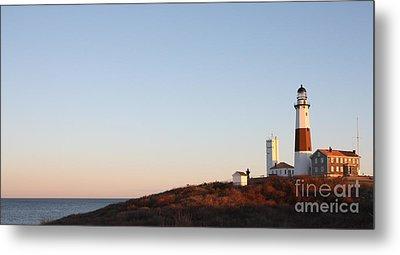 Sunset Over Montauk Lighthouse Metal Print by John Telfer