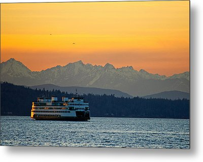 Sunset Over Olympic Mountains Metal Print by Dan Mihai