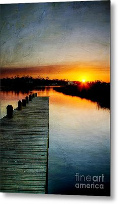 Sunset Pier Metal Print by Joan McCool