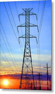 Sunset Power Lines Metal Print by Olivier Le Queinec