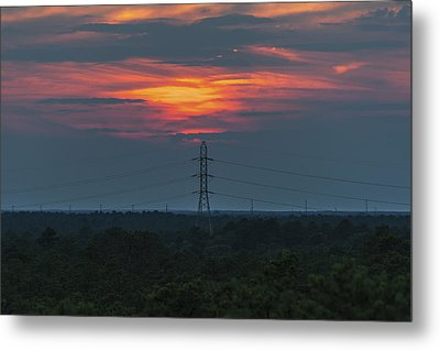Sunset Power Over Pine Barrens Nj Metal Print by Terry DeLuco