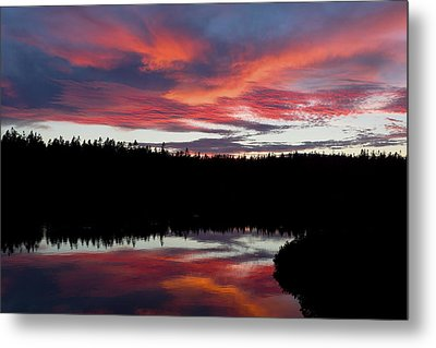 Sunset Reflecting Off Seawall Pond Acadia National Park Metal Print by Keith Webber Jr