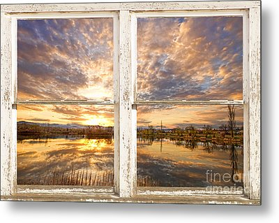 Sunset Reflections Golden Ponds 2 White Farm House Rustic Window Metal Print by James BO  Insogna