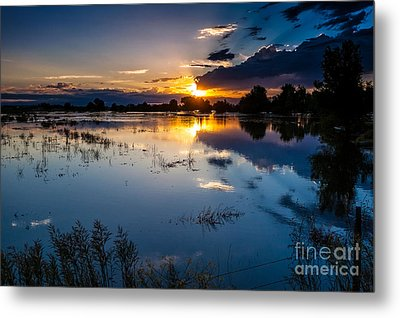 Sunset Reflections Metal Print by Steven Reed