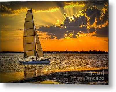 Sunset Sail Metal Print by Marvin Spates