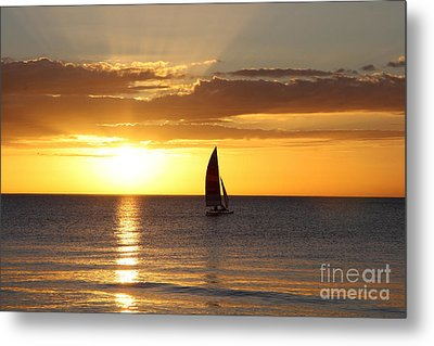 Sunset Sailing Metal Print by Christiane Schulze Art And Photography