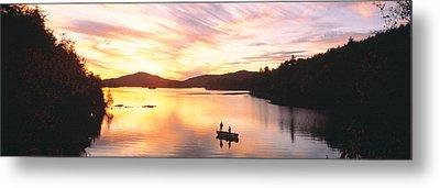 Sunset Saranac Lake Franklin Co Metal Print by Panoramic Images