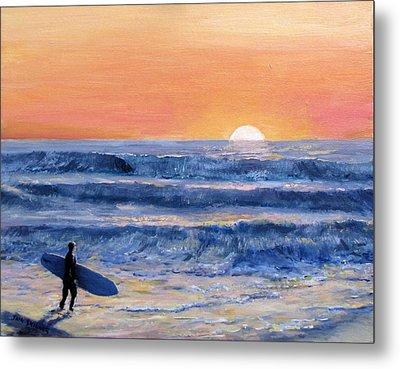 Sunset Surfer Metal Print by Jack Skinner