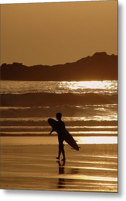 Sunset Surfer Metal Print by Ramona Johnston