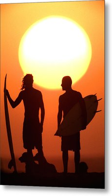 Sunset Surfers Metal Print by Sean Davey