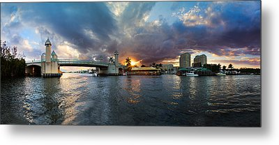 Sunset Waterway Panorama Metal Print by Debra and Dave Vanderlaan